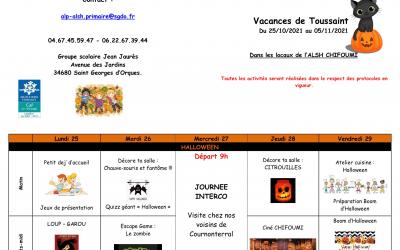 Programme des activités des vacances de Toussaint ChiFouMi