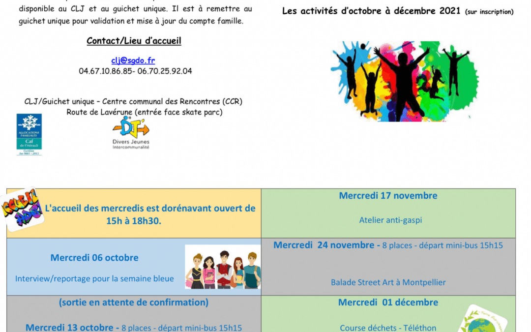Programme des activités du CLJ