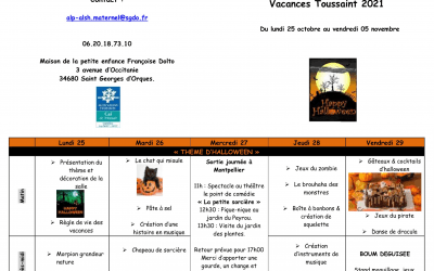 Programme des activités des vacances de Toussaint Les Moussaillons