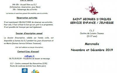 Programme CLJ novembre et décembre