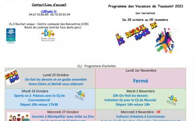 Programme des activités des vacances de Toussaint du CLJ